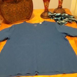 Chico's size 3 cobalt blue v neck tee shirt
